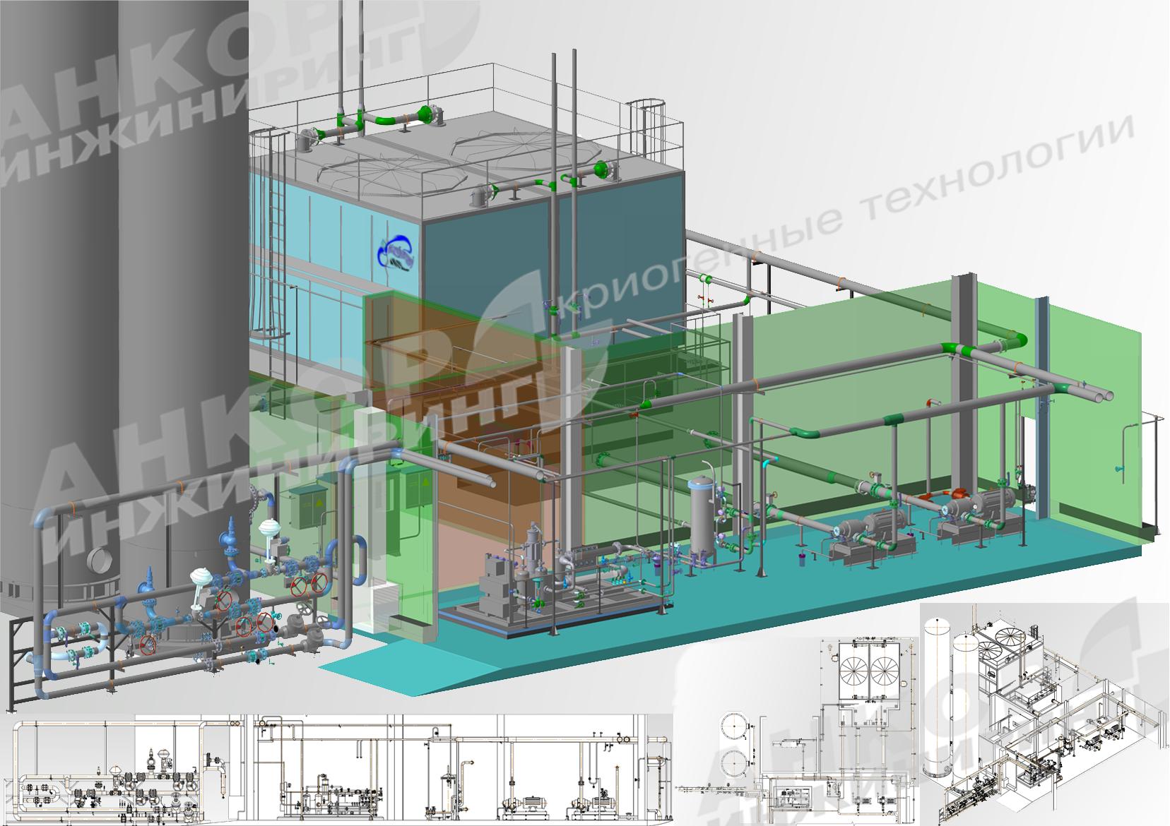 Проект системы водооборотного охлаждения для станции разделения воздуха.